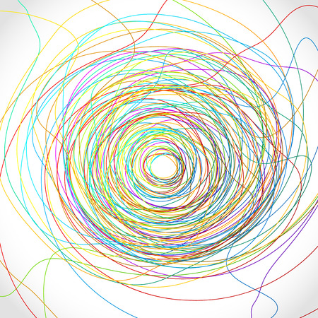 entangled: Colorful scribble like elements. Abstract vector