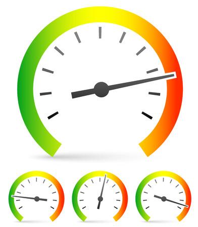 Snelheidsmeter of algemene gauge, wijzerplaat sjabloon voor het meten, vergelijken concepten. Vector icon Stock Illustratie