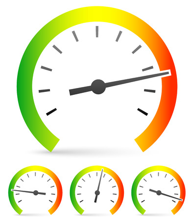 Speedometer or general gauge, dial template for measuring, comparison concepts. Vector icon Ilustrace