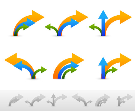 flechas curvas: Diferentes composiciones de flecha - Flechas de colores