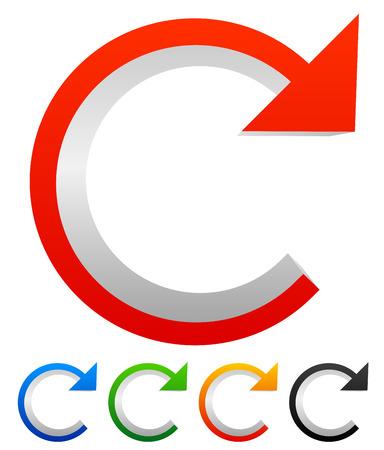 recurrence: Circular arrow. Iteration, skip, advance