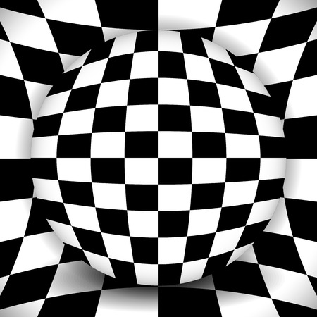 surrealistic: Checkered composition - sphere over distorted background Illustration