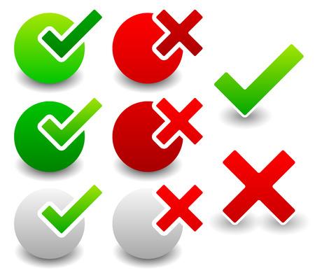 Checkmark y conjunto cruz Ilustración de vector