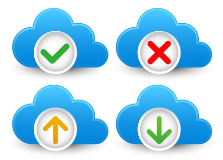 corrupted: Cloud  database icon set with approved, verified; corrupted, up- and download symbols