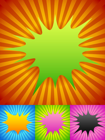 Spikey shapes on radiating background Vector