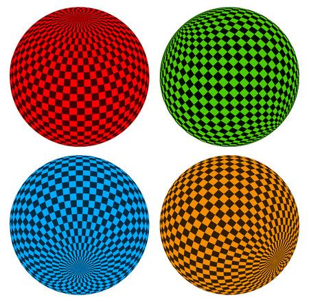 Checkered Komposition - Kugel über Verzerrte Hintergrund Lizenzfrei ...