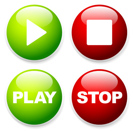 activate: Play, stop buttons with symbols and texts Illustration