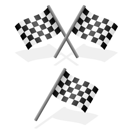 single line: Cross and single racing flags with shadow