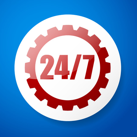 rackwheel: 247 badge for manufacturing or repair concept Illustration