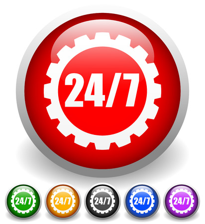 247 badge for repair or manufacturing concepts. Vector