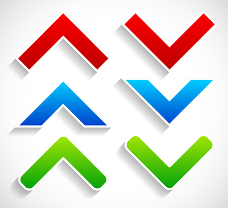 pointed arrows: Stylish bright up down arrows with diagonal shadows
