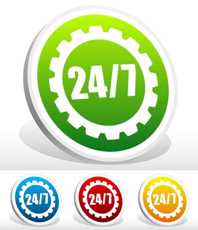 rackwheel: 247 badge for manufacturing or repair concept Illustration