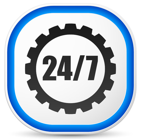 uninterrupted: 247 badge for manufacturing or repair concept Illustration