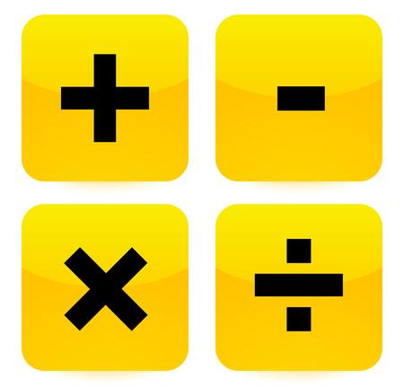 multiplication: Bright, vivid math symbols (addition, subtraction, multiplication, division signs, symbols, marks) Illustration