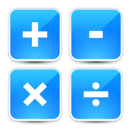Math symbols on blue backgrounds (addition, subtraction, multiplication, division signs, symbols, marks)