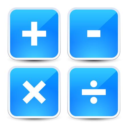 Math symbols on blue backgrounds (addition, subtraction, multiplication, division signs, symbols, marks)