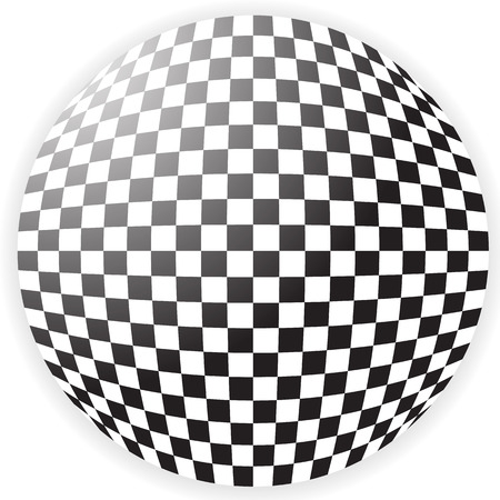 spherule: Bulging checkered pattern, checkered sphere Illustration