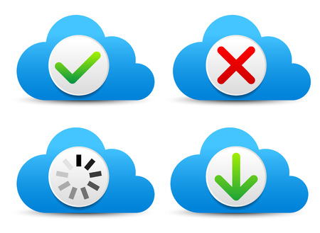 Clouds with different symbols - Cloud technology concept Vector