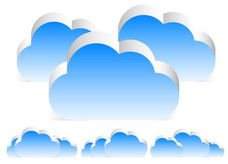 compositions: Different 3D cloud compositions. (w transparent shadow)