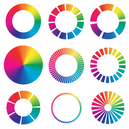 circulos concentricos: 9 ruedas de colores diferentes.