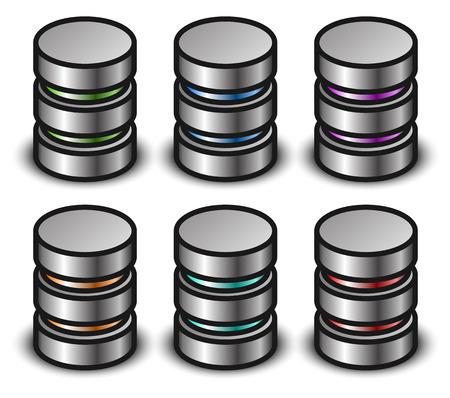 Database graphics, icons. Database, cylinder, HDD clip-art Illustration