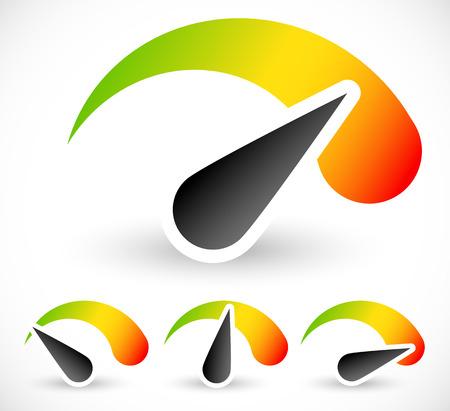Velocidad, aceleraci�n o indicadores generales con agujas. fijado en 4 etapas Vectores