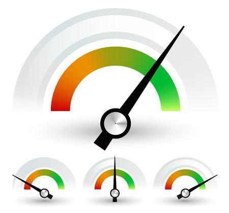Snelheidsmeters of algemene indicatoren met naalden. ingesteld op 4 stages Stock Illustratie