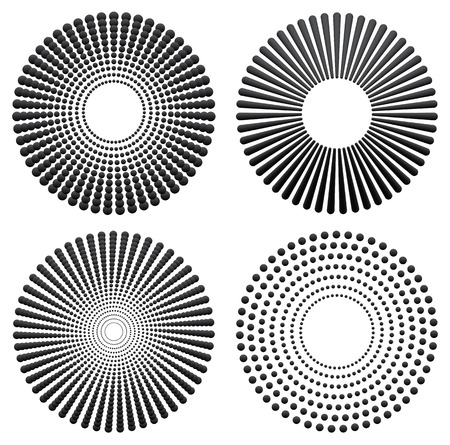 concentric: Different radial, concentric elements