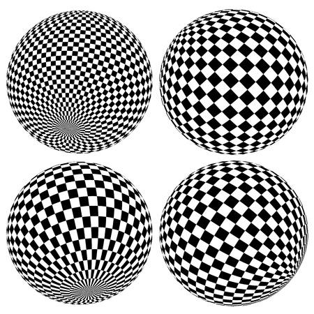 Wireframe Kugeln, Globen. Spheres Mit Karierten Oberfläche ...