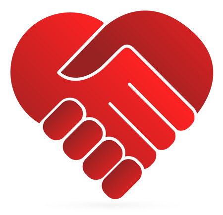 two hearts together: Handshake symbol forming a heart
