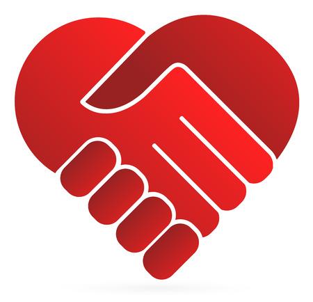 stretta di mano: Simbolo della stretta di mano che formano un cuore
