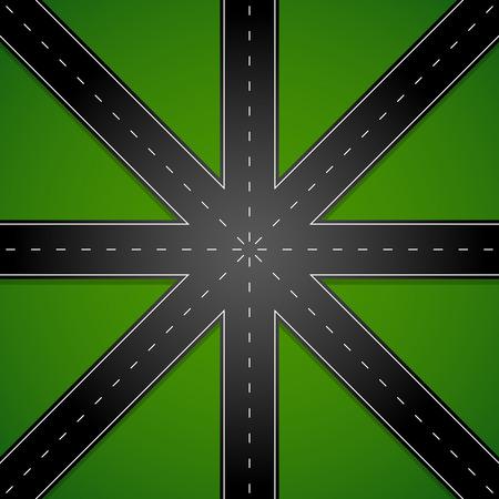 8 way junction, 8 way roads. Illustration