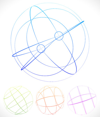 spherule: Spherical graphics with wireframe Illustration