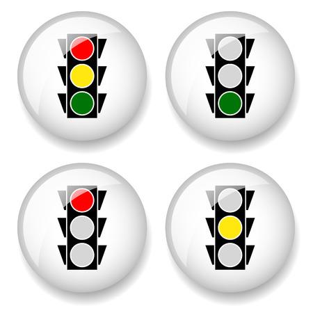 Classic traffic lamp icons. vector illustration.