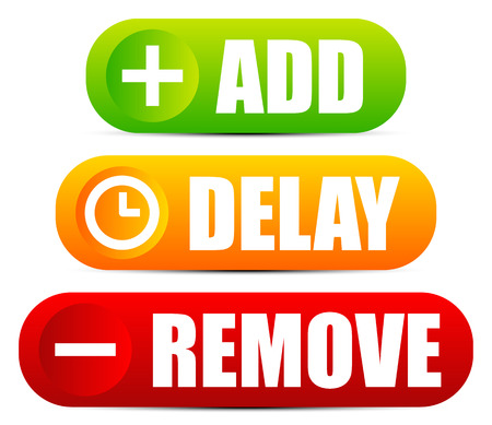 delay: Add, delay and remove button set with matching symbols Illustration