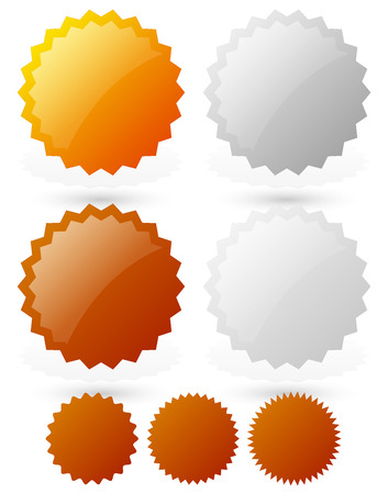 gold silver bronze: Glossy badge, starburst shapes gold, silver, bronze, platinum medals, badges. vector illustration. Illustration