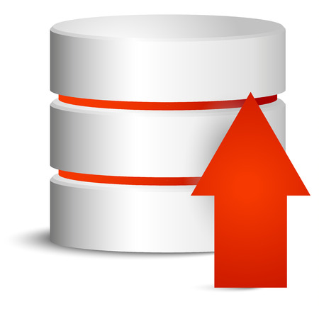 webhost: Cylinder with red upload arrow
