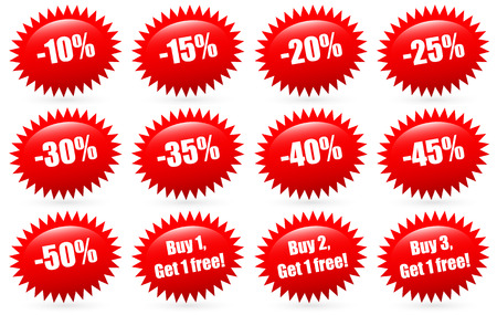 flash: Discount badges and Buy 1, buy 2, buy 3... Get 1 free badges. (red flash, starburst shapes)