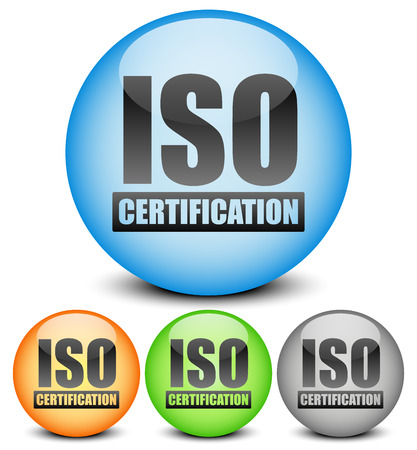 quality management: Iso certification seals. Quality assurance, quality management.