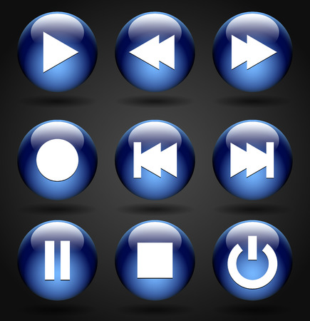 Multimedia buttons (Play, rewind, fast forward, record, previous, next, pause, stop, and power buttons) Illustration