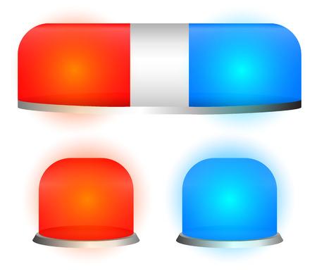 Vector siren lamp, emergency light, flasher set