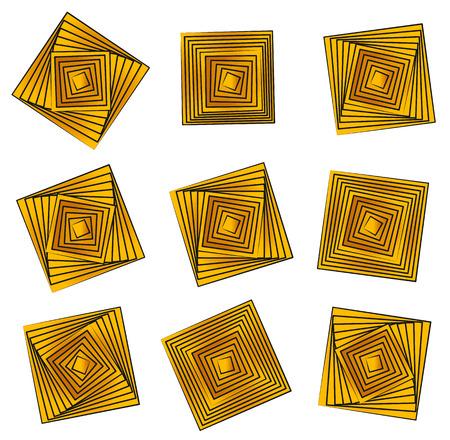 quadrant: Rotating golden squares. Vector design elements.