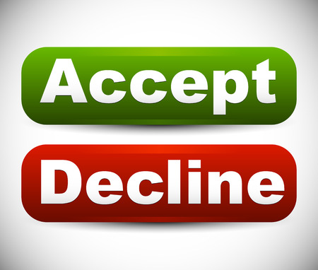 decline: Rounded Accept - decline buttons