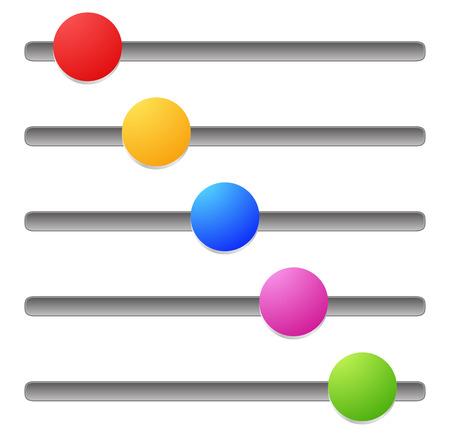 potentiometer: Horizontal adjust bars, sliders.