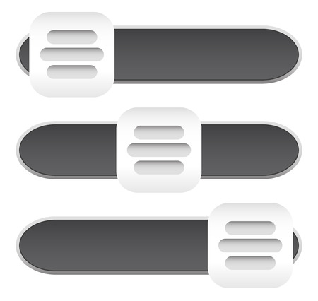 Horizontal sliders, adjust bars, 3 state buttons, levers. Vector