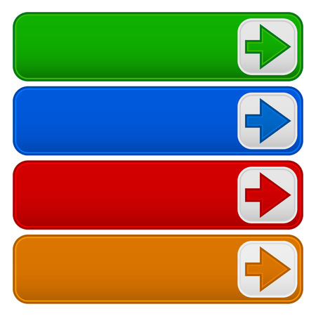 arow: 4 color banners, buttons with arrows Illustration