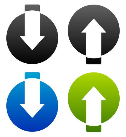 escalate: Up-down arrows cut in circles.