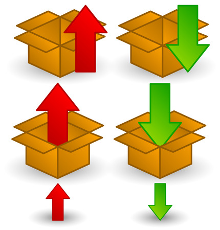 to unload: Box clip-art with arrows. Download, upload or packaging icons. Illustration