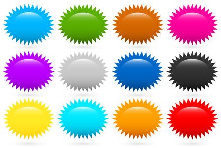 Starburst, flash moldea en 12 colores Vectores