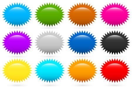 Starburst, flash shapes in 12 colors Vector